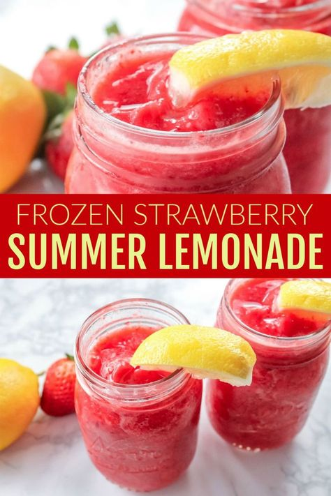 Easy Summertime Drink Recipe that is Refreshing and … Frozen Strawberry Lemonade! Easy Summertime Drink Recipe that is Refreshing and Perfect for the of July and Pool Parties or Backyard BBQs! Frozen Strawberry Lemonade, Strawberry Drinks, Fruit Drinks, Frozen Fruit, Smoothie Drinks, Frozen Strawberry Recipes, Recipes With Frozen Strawberries, Strawberry Daquiri, Beverages