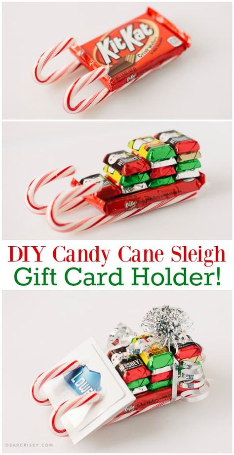 DIY Candy Cane Sleigh Gift Card Holder - This fun candy cane sleigh is so easy to make. Cute on its own or used as a unique gift card holder! More gift fun DIY Candy Cane Sleigh Gift Card Holder Christmas Food Gifts, Homemade Christmas Gifts, Christmas Fun, Handmade Christmas, Holiday Gifts, Christmas Quotes, Christmas Gift Craft Ideas, Christmas Candy Crafts, Diy Xmas Gifts