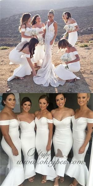 White Mermaid Off-the-Shoulder Long White Bridesmaid Dresses, White Mermaid Off-the-Shoulder Long White Bridesmaid Dresses, Bridesmaid Dresses white bridesmaid dresses