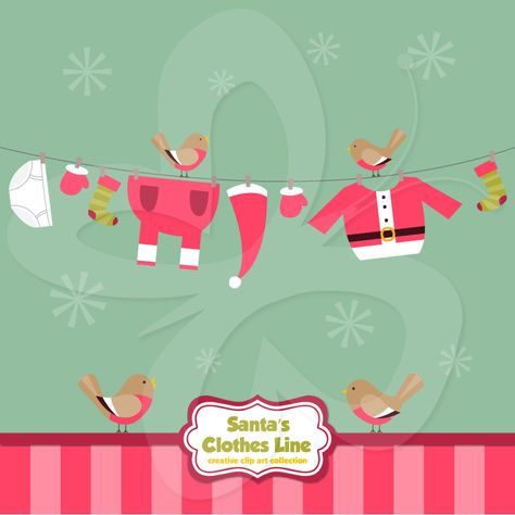At home with the Clauses: the images in this funny Santa clipart are a unique addition to your other Christmas clipart and Santa hat clipart.   #clipart #illustration #santa #christmas #papercraft #scrapbooking