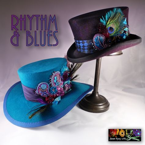 MUMUWU Womens Steampunk Top Hat with Blue Pattern Cloth Hat