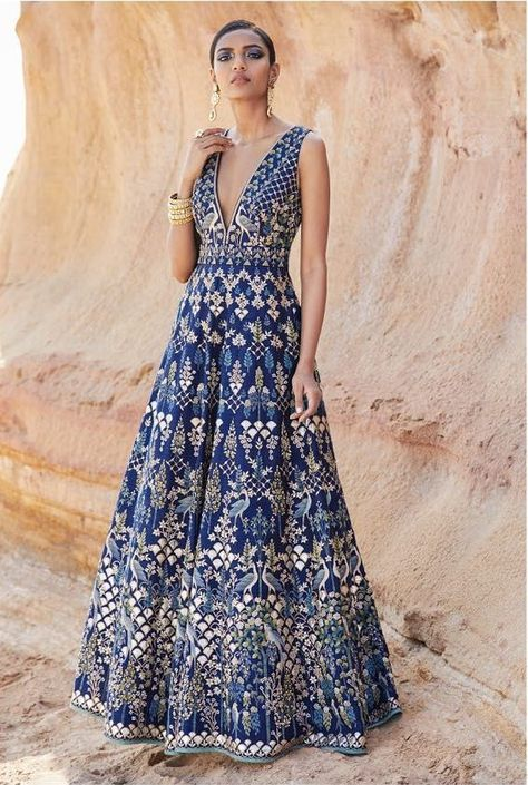15 Anita Dongre Lehengas For Spring Summer 2019 + PRICES Blue forest hand painted Anita Dongre Pichhwai Collection evening gown. Anita Dongre, Indian Attire, Indian Ethnic Wear, Ethnic Gown, Indian Wedding Outfits, Indian Outfits, Indian Designer Outfits, Designer Dresses, Mehendi Outfits