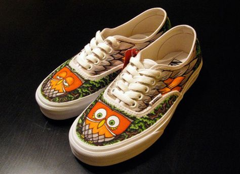Owlie Shoes! … | Painted Shoes in 2019 | Owl shoes, Custom