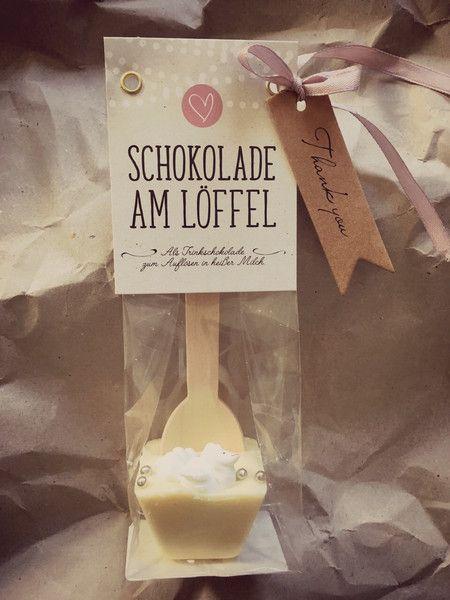 Gastgeschenke Schokolade Am Loffel Hochzeit Gastgeschenk Ein