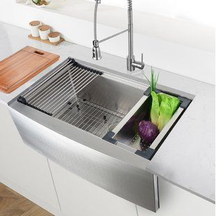 Wells Sinkware 32 L X 19 W Undermount Kitchen Sink With Basket Strainer Wayfair Farmhouse Sink Kitchen Apron Sink Kitchen Undermount Kitchen Sinks