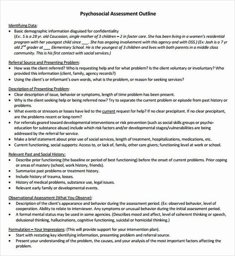 30 Social Work Assessment Form In 2020 Assessment Lcsw Exam