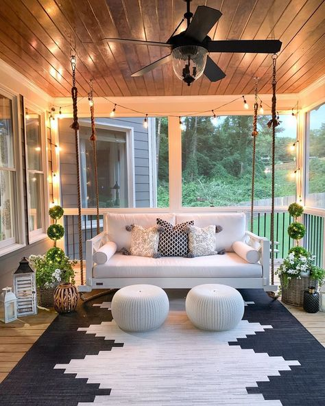 Rethink Your Outdoor Space by Channeling This Dreamy Porch Swing | Hunker #outdoordecor