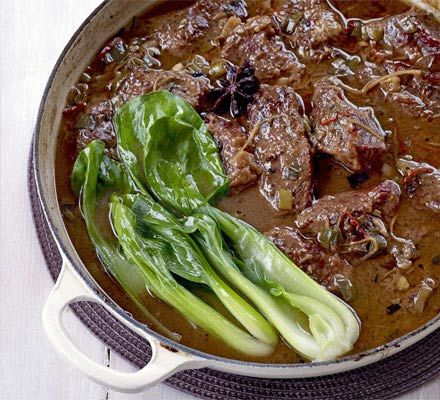 Chinese-style braised beef one-pot.  I'd recommend making your own five spice and adding at least twice as much. More chilli is a good bet, careful with the dark soy. Works really well with beef shin.