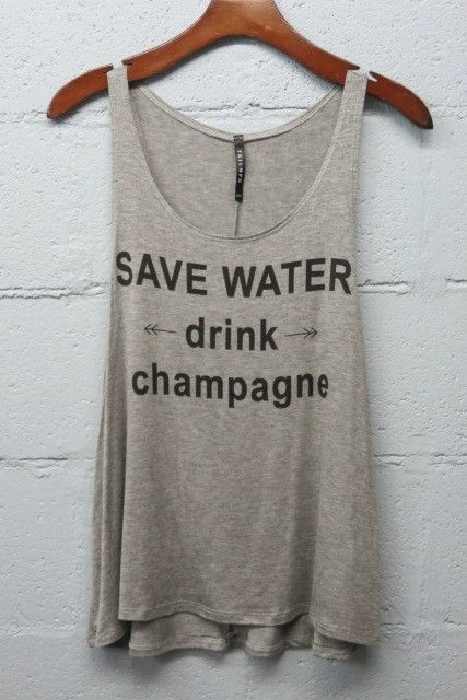 SAVE WATER DRINK CHAMPAGNE Tank Top  - Shop Simply Me Boutique, Naples, FL - www.SHOPSIMPLYME.com