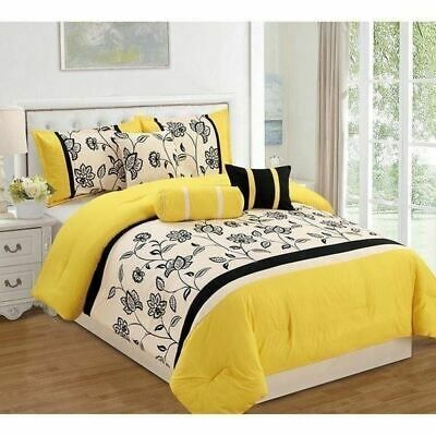 Yellow Black Off White Floral Stripe 7 Pc Comforter Set Twin Full Queen King Bed Ebay Comforter Sets Yellow Comforter Yellow Bedding