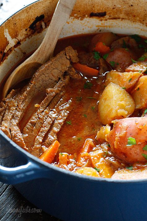 This recipe was an investment-- I had to buy a dutch oven ($$), and a 5 lb brisket was about $30. In addition to the cost, the meal takes time--browning the meat, sautéing the onions, slicing the meat, and 3 hours in the oven. Now, with that said, this meal is excellent, and is a beautiful meal for company. The house smells great, the finished product looks impressive, and you have a delicious meat and potatoes dinner. I highly recommend. (Braised Brisket with Potatoes and Carrots 7pp) ekw