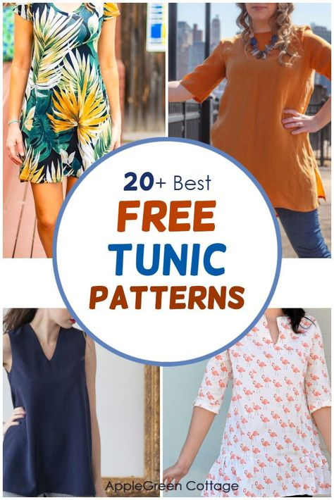 Tunic Dress Patterns, Tunic Pattern, Clothing Patterns, Tunic Dresses, Sleeveless Tunic, Coat Patterns, Dress Pattern Free, Shift Dress Pattern, Skirt Patterns