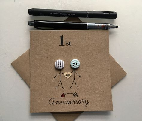 Anniversary Cards. Button anniversary. Cute cards. Happy anniversary. Coloured buttons. Stick people. first anniversary. 10th anniversary by JustOurStuffStore on Etsy