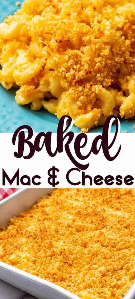 Baked Mac and Cheese is the ultimate comfort food! It is perfect for a pot luck, dinner party, barbecue or just as a great easy side dish! Creamy, cheesy and only takes 20 minutes to pull together this delicious weeknight dinner! #casserold #stovetop #baked #panko #breadcrumbs #homemade #fromscratch #easy #southern #macaroni #soulfood #sidedish #foracrowd