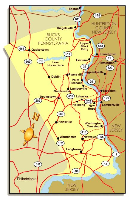 Bucks County Pa Road Map Map Of Bucks County PA Map Of Pa - Road map of pa