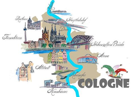 Cologne Favorite Map With Touristic Top Ten Highlights Fine Koln