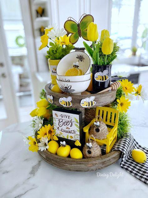 Lemon Kitchen Decor, Kitchen Tray, Bee Theme, Tray Decor, Tiered Stand, Spring Home Decor, Seasonal Decor, Yellow Tulips, Phase 2
