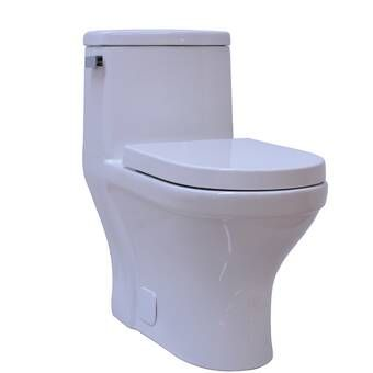 1 28 Gpf Round One Piece Toilet Seat Included Toilet Wood Bridge One Piece
