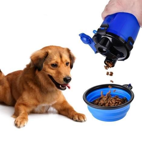 Own A 750ml Dual Compartment Pet Travel Food Water Bottle Now And