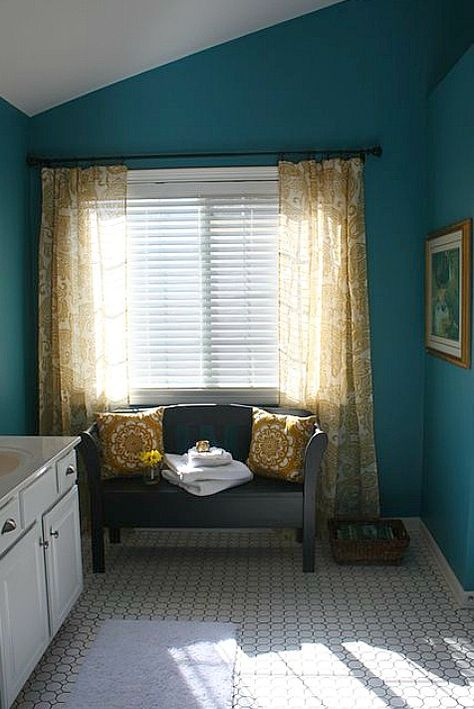 Beautiful before & after master bath 11-12 Pottery Barn Curtains 2  from Hooked on Houses