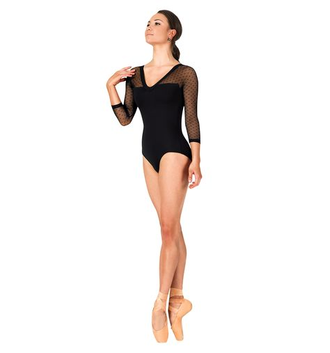 fc5c1d16fd62 Adult Dot Mesh 3 4 Sleeve Leotard