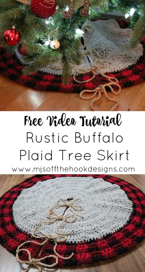 Crochet Bulky & Quick Christmas Tree Skirt and Pillow Cover in Buffalo Plaid! Adds a rustic homemade touch to your Christmas & Winter decor. This is an easy-intermediate crochet pattern that works up quick! Full Video included for Tree Skirt pattern. Christmas Tree Skirts Patterns, Crochet Christmas Ornaments, Christmas Crochet Patterns, Holiday Crochet, Crochet Gifts, Diy Crochet, Irish Crochet, Crochet Ideas, Crochet Baby