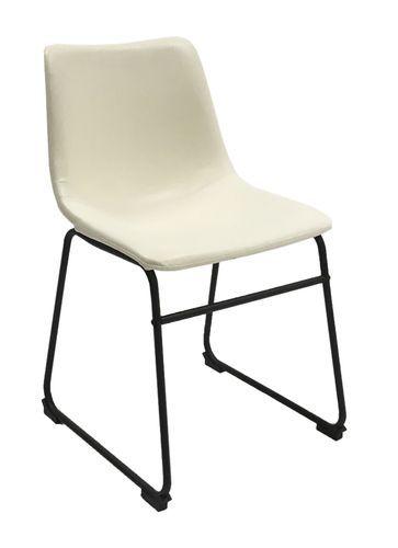 Råtøff og stilig Watson spisestol i hvit vintage PU. Mål