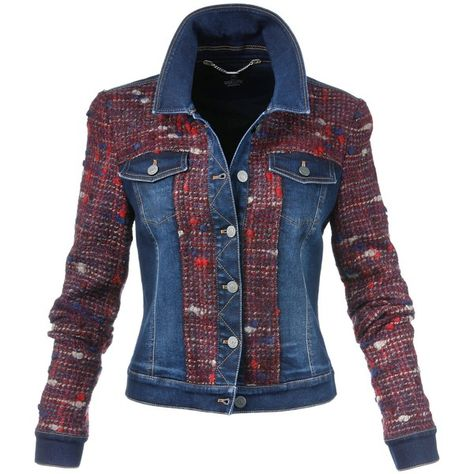 Extravagant and new creation in a combination of denim and multi-coloured tweed.