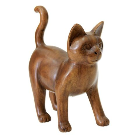 Deary Guardian Cat Wood Sculpture