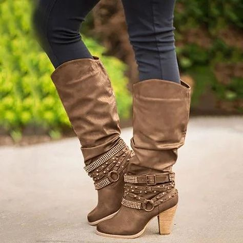 newest collection superior quality top fashion Winter Rhinestone Rivet Buckle Decor Slouch High Boots | shoes ...