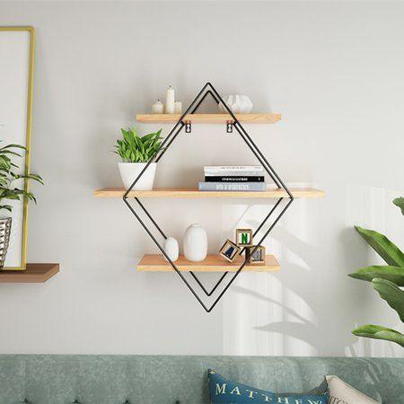 rhombus wood metal wall shelf shelves