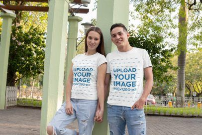 Download Placeit T Shirt Mockup Of A Couple Holding Hands At The Park Clothing Mockup Shirt Mockup Tshirt Mockup