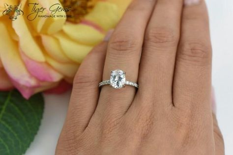 2 carat Oval Solitaire Ring Blake Engagement by TigerGemstones