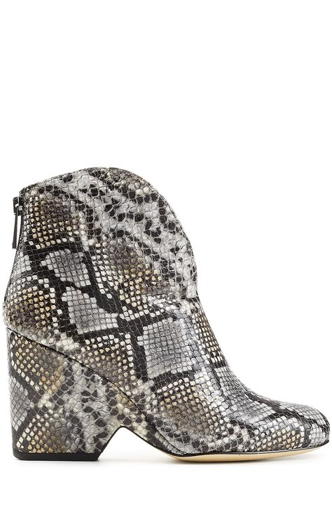 DIANE VON FURSTENBERG Snake Embossed Leather Ankle Boots. #dianevonfurstenberg #shoes #boots