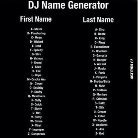 DJ NAME GENERATOR | Funny Thoughts | Name generator, Funny names