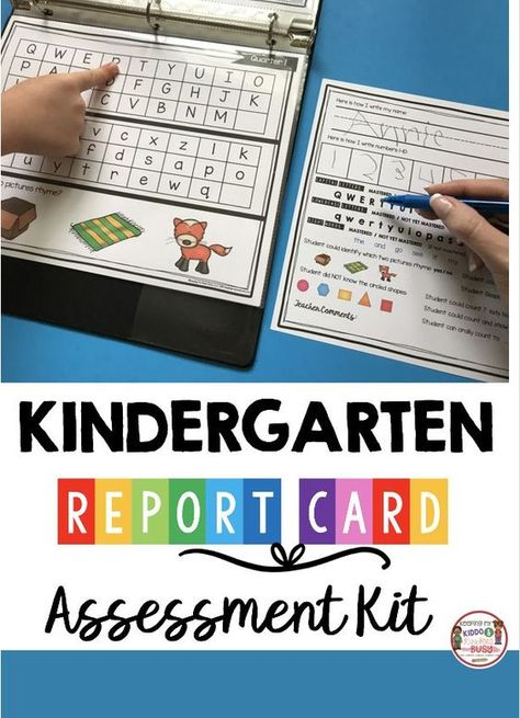 KINDERGARTEN Report Cards and Assessment Kit Data Binders - how to make report card testing easy and organized - common core aligned by quarter - easy to understand format testing and whole group - data binders - self reflection Kindergarten Report Cards, Kindergarten Calendar, Kindergarten Assessment, Kindergarten Lesson Plans, Preschool Curriculum, Kindergarten Teachers, Kindergarten Activities, Kindergarten Common Core, Reading Intervention Kindergarten