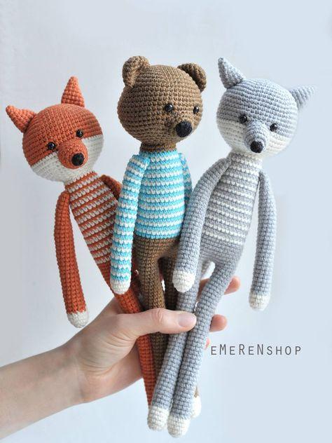 Woodland animals. Cute fox wolf bear. Stuffed toys. Amgurumi animals. Crochet toy. Baby toy. (35.00 USD) by EMERENstore