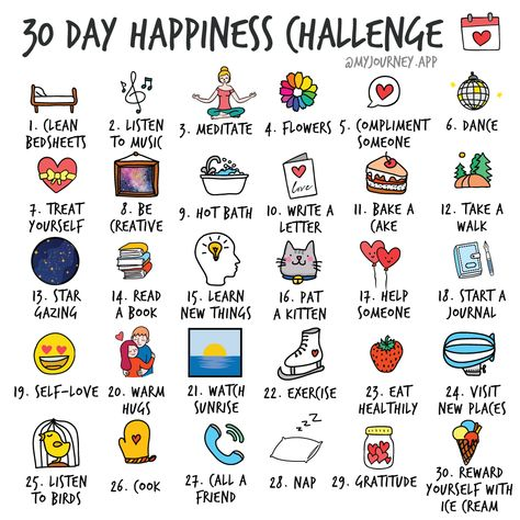 Start a 30 day happiness challenge. Log your happiness journey along the way.