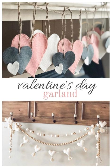 These Valentine& Day garland ideas will bring a feeling of love and excitement. Come with us as we tour our friends home and their Valentine& Day garland. Valentine Day Love, Valentine Day Crafts, Holiday Crafts, Holiday Fun, Valentines Dyi, Vintage Valentines, Valentinstag Party, Diy Valentine's Day Decorations, Valentines Day Decorations