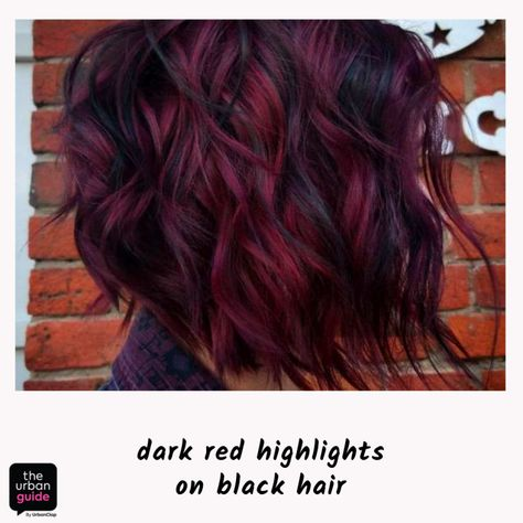 Hair highlights for Indian skin Ideas for red highlights If you think brunettes are generally Red Hair Streaks, Black Hair With Red Highlights, Red Purple Hair, Cherry Red Hair, Red Brown Hair, Bright Red Hair, Red Hair Color, Hair Highlights, Burgundy Highlights