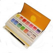 Sennelier L Aquarelle Extra Fine Watercolour 14 Half Pans Brush