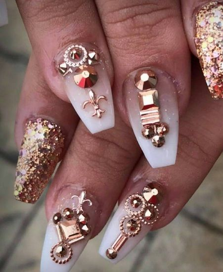 Rose Gold 3d Design Japanese Nail Art Metallic Studs Beads Charms Decorations Nailart 3d Nail Art Designs Japanese Nail Art Japanese Nails