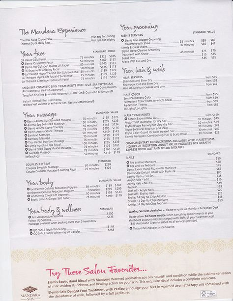 Spa And Salon Menu Designs From Imenupro  More Than Just