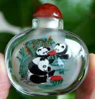 Chinese Collectible Handmade inside painted Flower and bird glass snuff bottle