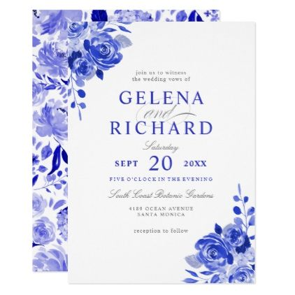 Royal Blue White Watercolor Blue Floral Wedding Invitation Zazzle Com Floral Wedding Invitations Floral Wedding Wedding Invitations