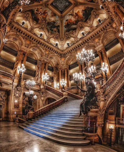 The interior of Opéra Garnier in Paris : BeAmazed Architecture Baroque, Architecture Design, Beautiful Architecture, Beautiful Buildings, Beautiful Places, Hotel Medieval, Paris Opera House, Aesthetic Backgrounds, Travel Aesthetic