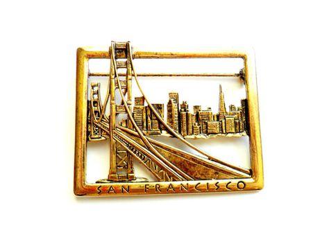 Vintage Modernist Brooch Cityscape in Brass Geometric Style