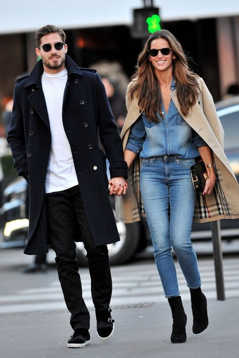 The gorgeous Izabel Goulart and Kevin Trapp were out for a walk in the streets of Paris, France during fashion week. Izabel wore a double denim outfit, pairing together similar washed skinny jeans ...