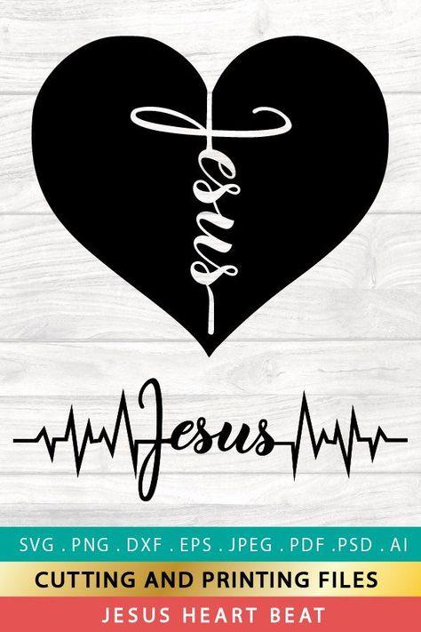 SVG Jesus Heart SVG PNG EPS DXF Heart Beat SVG Cross SVG (783681) | Cut Files | Design Bundles