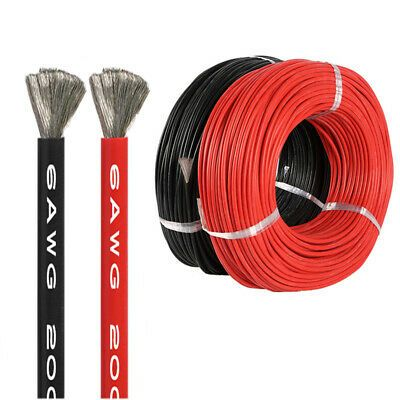 Details About 10m Flexible Silicone Wire Cable 6 8 10 12 14 16 Awg Black Red Super Soft Us In 2020 Black And Red Black Cables Wire